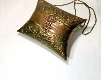 Brass Boho Handbag Asian Vintage Purse w Velvet Lining  Hippie Shoulder Bag Bohemian Accessory 1970s