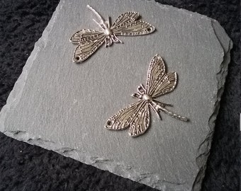 2 x Antique Silver Dragonfly Connector Charms