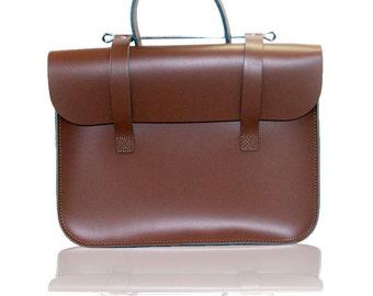 Real Leather - Music Case - Laptop Case - Messenger Bag - Music Bag - Chestnut