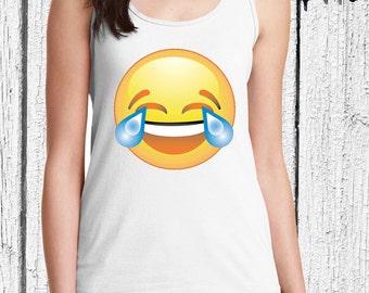 FREE SHIPPING Emoji Women Tank Top - Laughing Emoji - Emoji Tank Top - Funny Tank Top - Emoji Shirt for Women