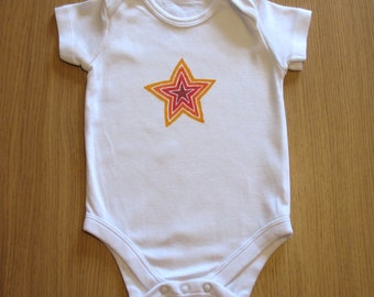 Hand Drawn Baby Onesie - Red and Orange Star