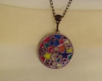 Pendant Bronze Necklace Antique Chain..