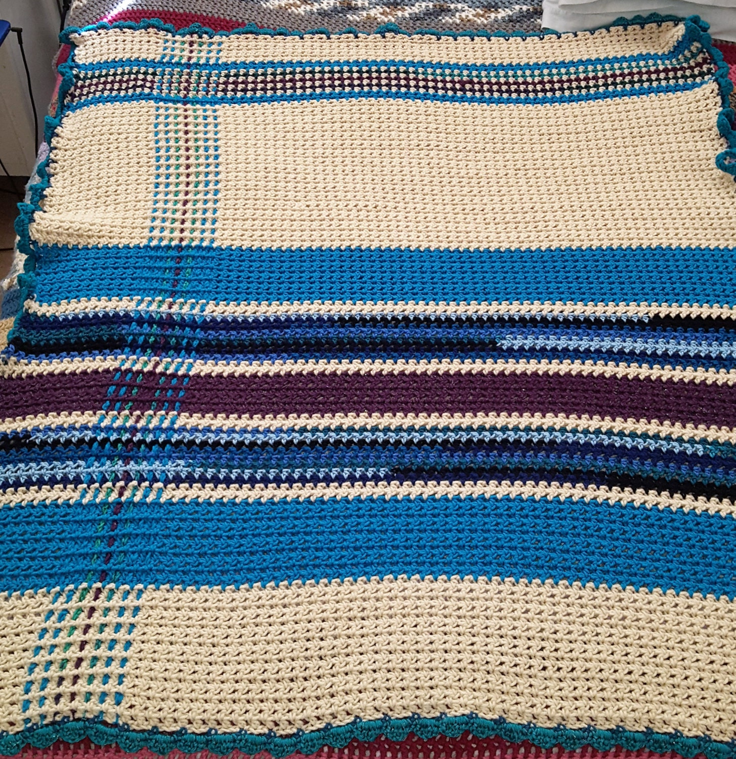Afghan Throw Blanket Crochet Blanket Plaid by 3TwinsCrafts