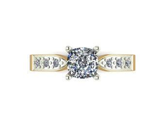 Cushion Cut Solitaire Moissanite Ring in 9 Carat Yellow or White Gold