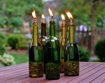 4 pc set Wine Bottle Tiki Torches