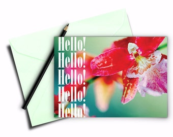Floral greeting card, Folded card 5x7 inch, Printable card of Orchid, Instant digital download, Printables, Hello folded greeting card