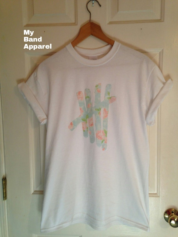 5SOS Logo Floral Flower T-Shirt Unlimited options to combine colours, sizes & styles Discover T-Shirts by international designers now!