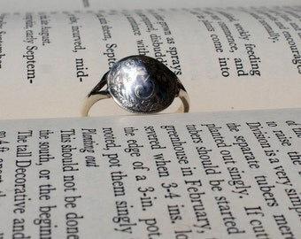 Silver coin ring, handmade silver ring, domed coin ring, thruppence ring, size Y ring