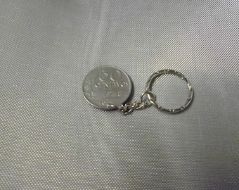 Brazil   50 Centavos coin 1970  attached to a keychain