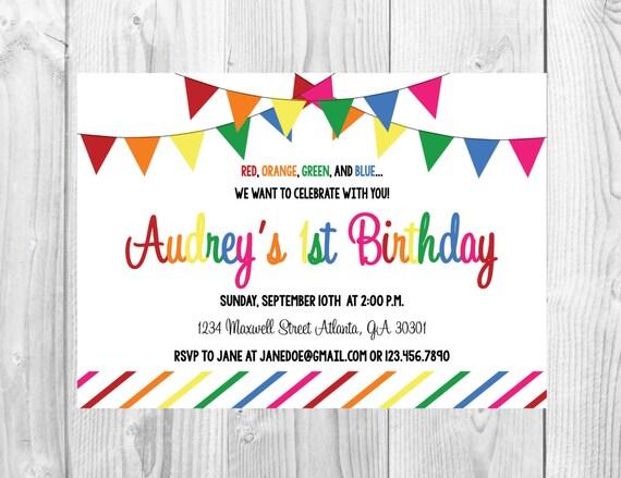 Any Age Rainbow Birthday Party Invitation >> Girls Birthday Party Invite << First Birthday  >> 1st Birthday >> Custom Printable Digital File