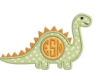 Dinosaur Embroidery Design - Dino Applique - Monogram frame  - Machine embroidery Applique design - Instant download pattern