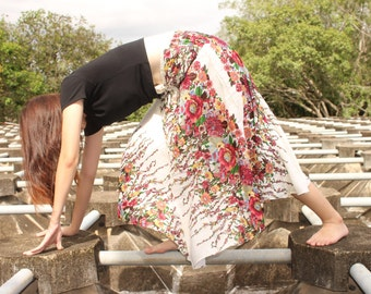 Harem Skirts Hippie Skirts Boho Skirts Bohemian Skirts Gypsy Skirts Charming Skirts flowers Skirts White Skirts