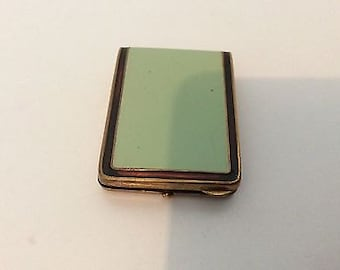 Antique Green Enamelled Match Holder