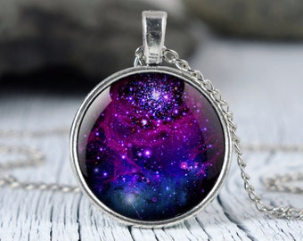 Galaxy purple necklace Purple nebula pendant Space necklace Universe jewelry p26