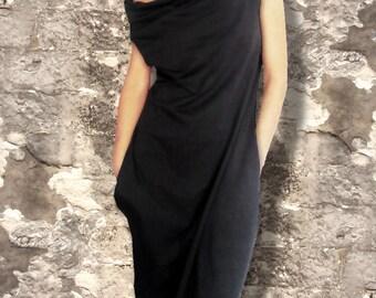 Oversized Loose Fit Off the Shoulder Black Dress/Unique Causal Minimalist Dress/Comfortable Stylish Women's Tunic