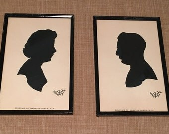 Pair of Vintage Silhouette Portraits From 1957, Vintage Framed Silhouettes, Hampton Beach, NH Souvenirs 1950's, Portraits of Lady and Man