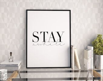PRINTABLE Art,She & Him,Stay A While,Love Sign,Gift For Her,Gift For Boyfriend,Wall Art,Quote Print,Digital Print,Home Decor,Typography Art