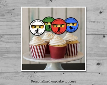 Ninja birthday cupcake toppers - set of five (5) personalized with your child's name - digital / printable