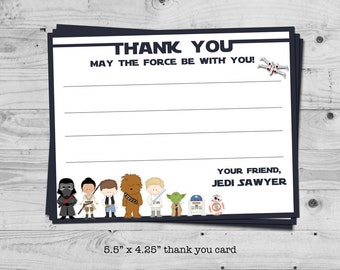 Star Wars thank you card - personalized with your child's name - digital / printable