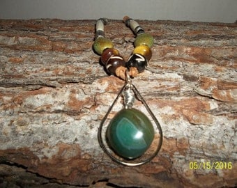 Jewel of the Nile Green Agate Pendant Necklace