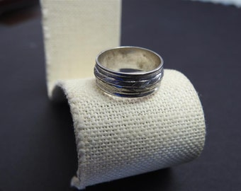 stunning vintage sterling silver and feather band size 7 1/2