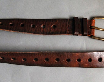 Brown leather multi hole belt with brass buckle
