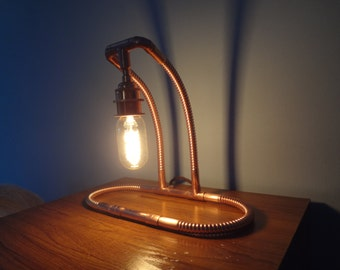 Double Arm Ribbed Copper Lamp