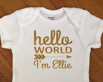 SALE! Glitter Hello World Arrow Personalized Shirt, Girl Name Outfit, Glitter Bodysuit, Infant Onesie®,  Baby Shower, Newborn Personalized