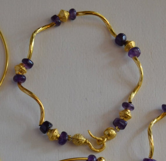 Gold Bracelet with Amethyst beads, Gold Charms and  Swirl Bars , Swan Clasp, 22k gold plated, 7.5 inches (18.5 cm)