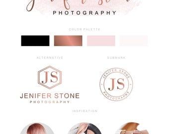 Branding Kit, Branding Package, Premade Logo, Watercolor Logo, Rose Gold Logo, Logo Design, Calligpaphy Logo, Photography Logo, Wedding Logo