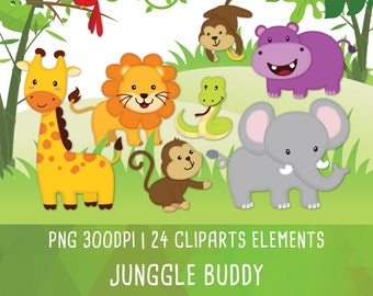 Jungle animal clipart, Jungle Friends clipart, Jungle clipart, cute animal, Instant Download PNG 300 dpi