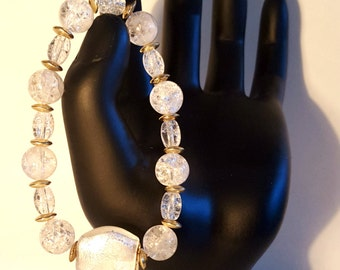 Elegant Crystal Glass Bracelet with Gold Accents