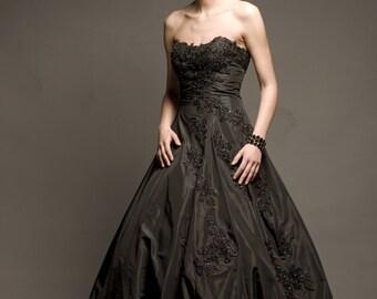Black taffeta dress with hand-sewn beads and Swarovski crystals, prom dress, formal dress, extravagant dress