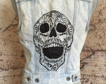 S Studded Denim Levi's Vest with HAND-DRAWN Skull and Leopard Print Size Small