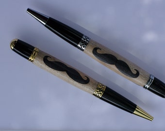 FREE SHIPPING! Inlay Mustache twist action Pen, Curly Maple with black-dyed Alder woods