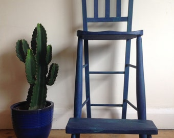 Antique clerks chair in Royal blue and emeral green