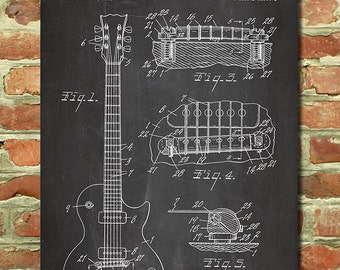 Gibson Les Paul Guitar Art Decor, Gibson Guitar Gift, Gibson Guitar Art, Guitar Poster Music Decor, Guitar Teacher Gift, Guitar Patent P116