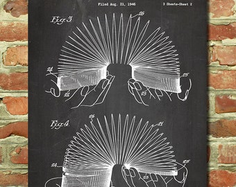 Retro Poster Slinky Toy Patent, Unique Gifts Play Room Decor Vintage Toy Art Kids Room Decor Play Room Art Kids Room Art Boys Room Art P135
