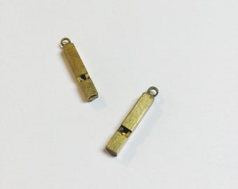 Vintage Brass Whistles American Made - 2 Pieces - #577