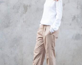 Loose linen blouse, basic linen top, white linen blouse, long sleeve top, linen tunic top, women linen top, women linen blouse, linen shirt
