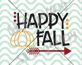 Fall SVG, happy fall SVG, Digital cut file, autumn svg, hand drawn pumpkin, arrow svg, thanksgiving svg, commercial use OK