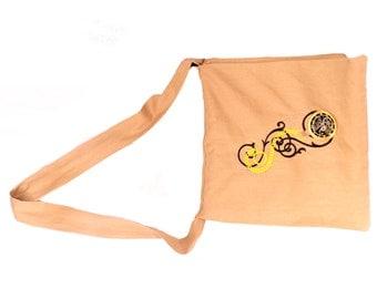 Steampunk Gears Linen Messenger Bag