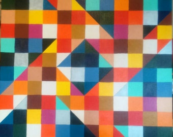 Acrylic painting: Geometric pattern 80 x 80 cm