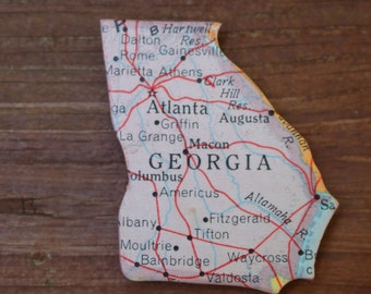 Georgia State Magnet Vintage Puzzle  Piece Rand McNally Map