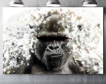 Gorillerros (gorilla) - draw on canvas varnish Premium canvas - Photo and creating Global Graphic Arts