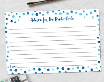 "Printable Blue Watercolor Polka Dot Advice Card, Bridal Wedding Shower, 6""x4"", JPG Instant Download"
