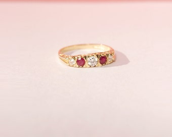 Antique ring - antique engagement ring - antique jewelry - gold ring - ruby cz ring - art deco ring - edwardian ring - gold ruby ring - 224