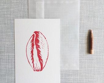 Greeting card handprinted A6 linocut 'Radicchio'