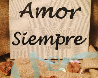 Handmade Canvas 'Amor Siempre' Love Always