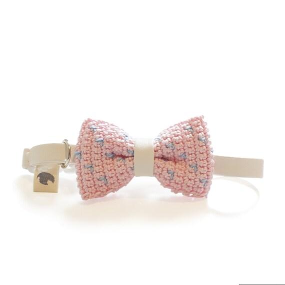 Pet Bow Tie - COTTON CANDY, pet accessories, pet bow tie, pet bowtie, dog bow tie collar, cat bow tie collar, crochet bow tie